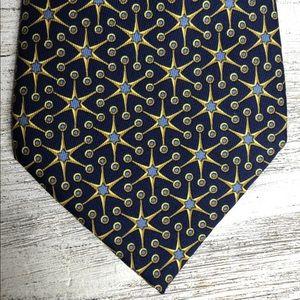 Hermès Blue Gold Geometric Stars Tie France